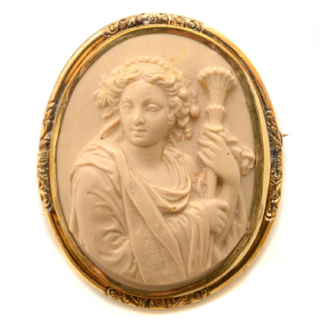 Lava Cameo, Gold-Filled Brooch.