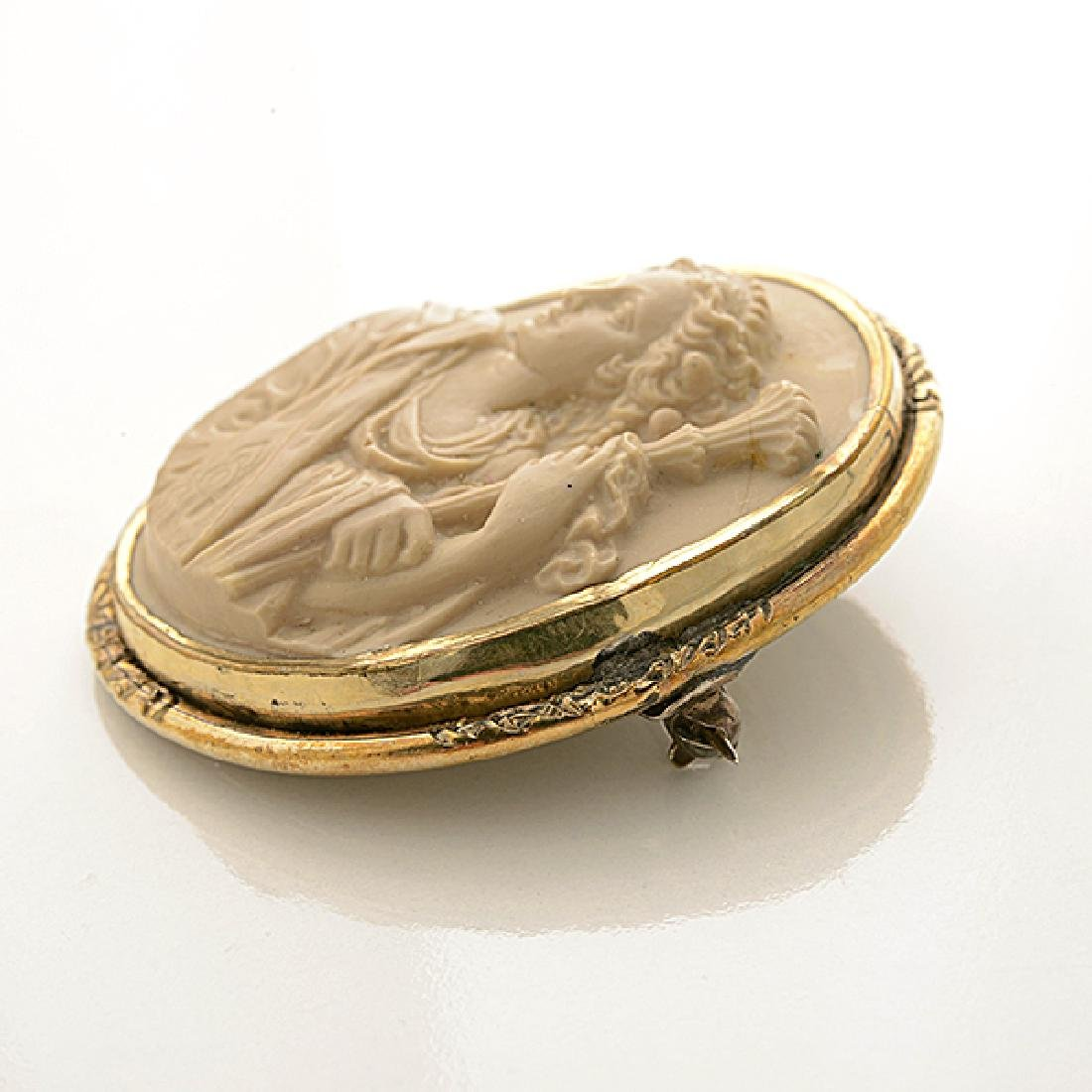 Lava Cameo, Gold-Filled Brooch. - 3