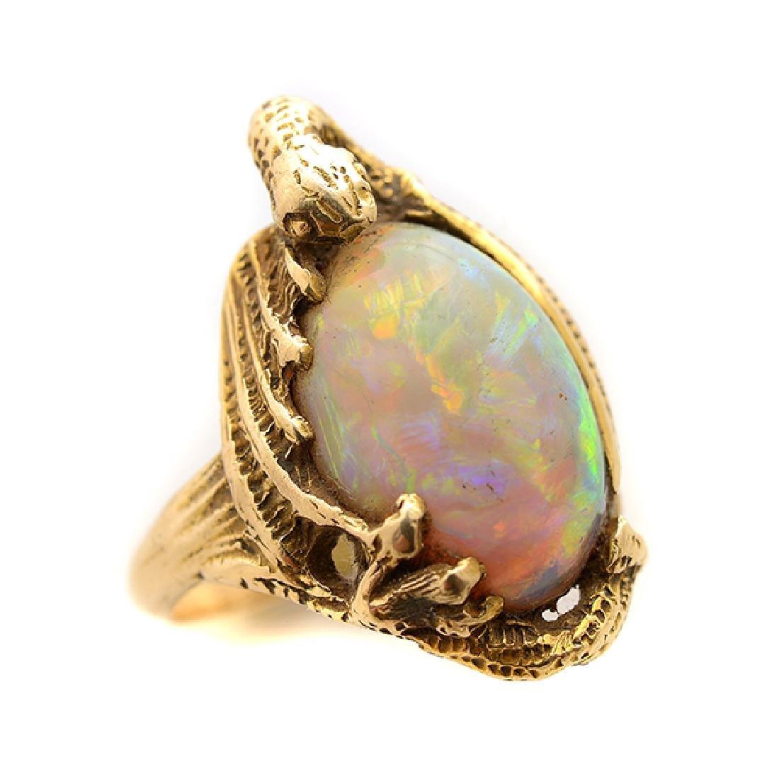 Walton & Co. Art Nouveau Opal, 14k Yellow Gold Ring.