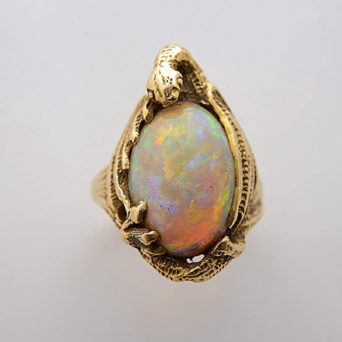 Walton & Co. Art Nouveau Opal, 14k Yellow Gold Ring. - 2