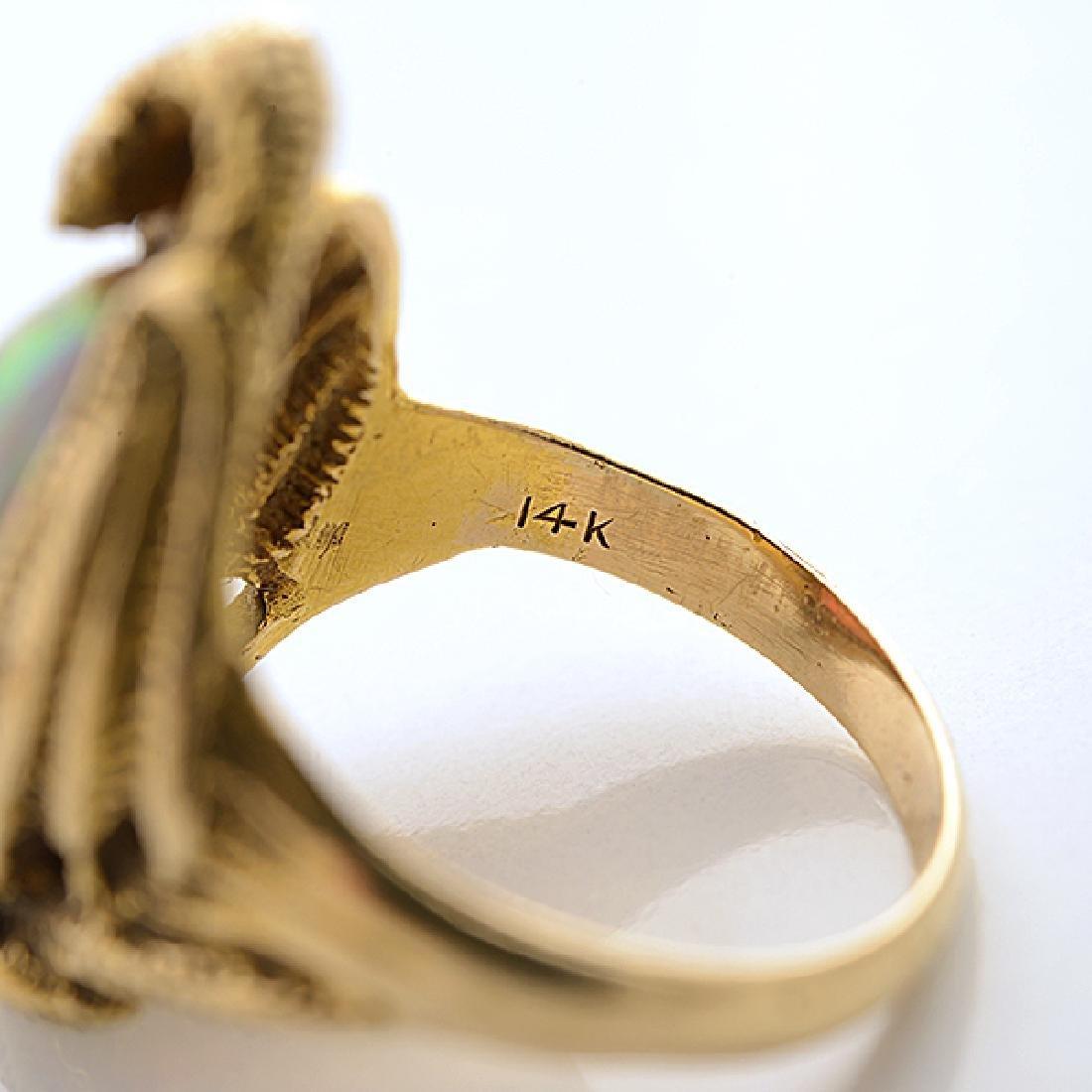 Walton & Co. Art Nouveau Opal, 14k Yellow Gold Ring. - 3