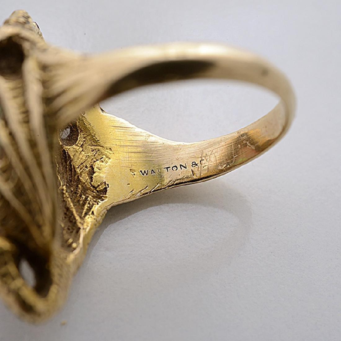 Walton & Co. Art Nouveau Opal, 14k Yellow Gold Ring. - 4