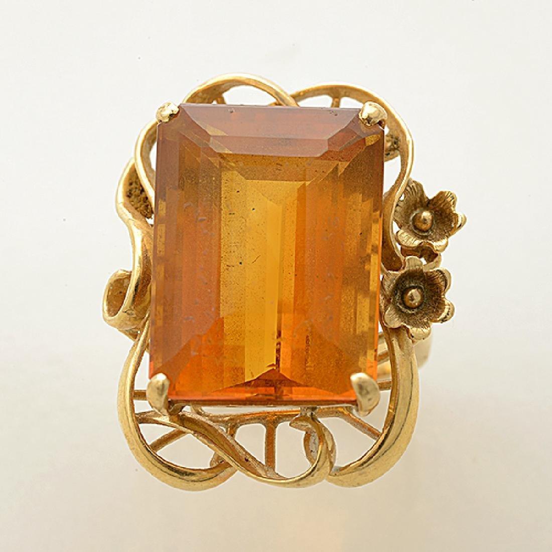 Citrine, 14k Yellow Gold Ring. - 2