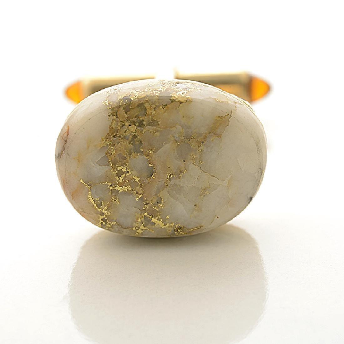 Pair of Krementz Gold in Quartz, 14k Yellow Gold, - 2