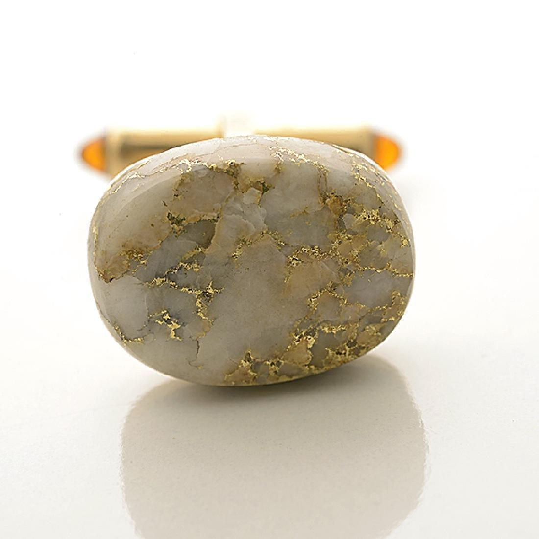 Pair of Krementz Gold in Quartz, 14k Yellow Gold, - 3