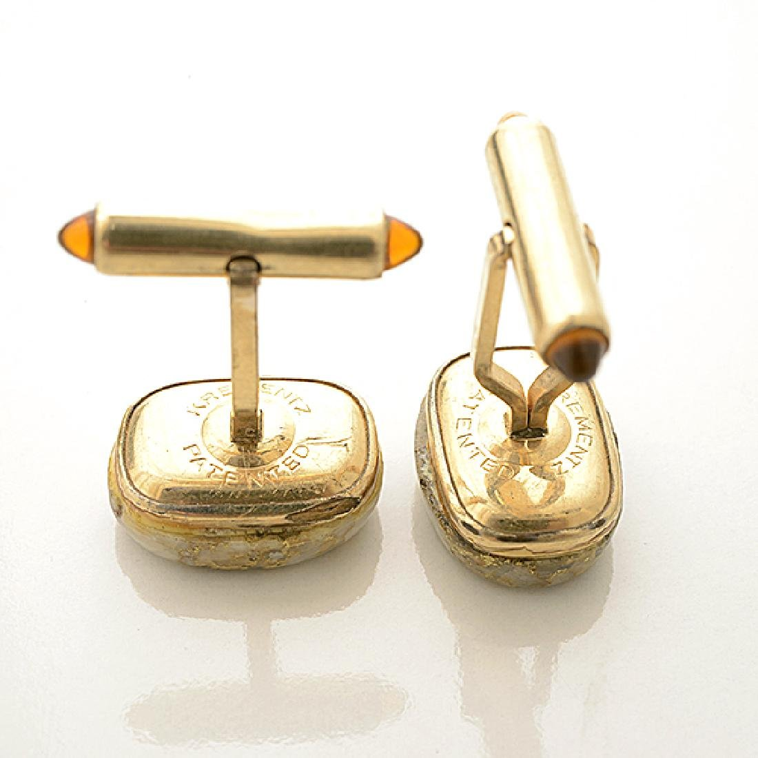 Pair of Krementz Gold in Quartz, 14k Yellow Gold, - 5