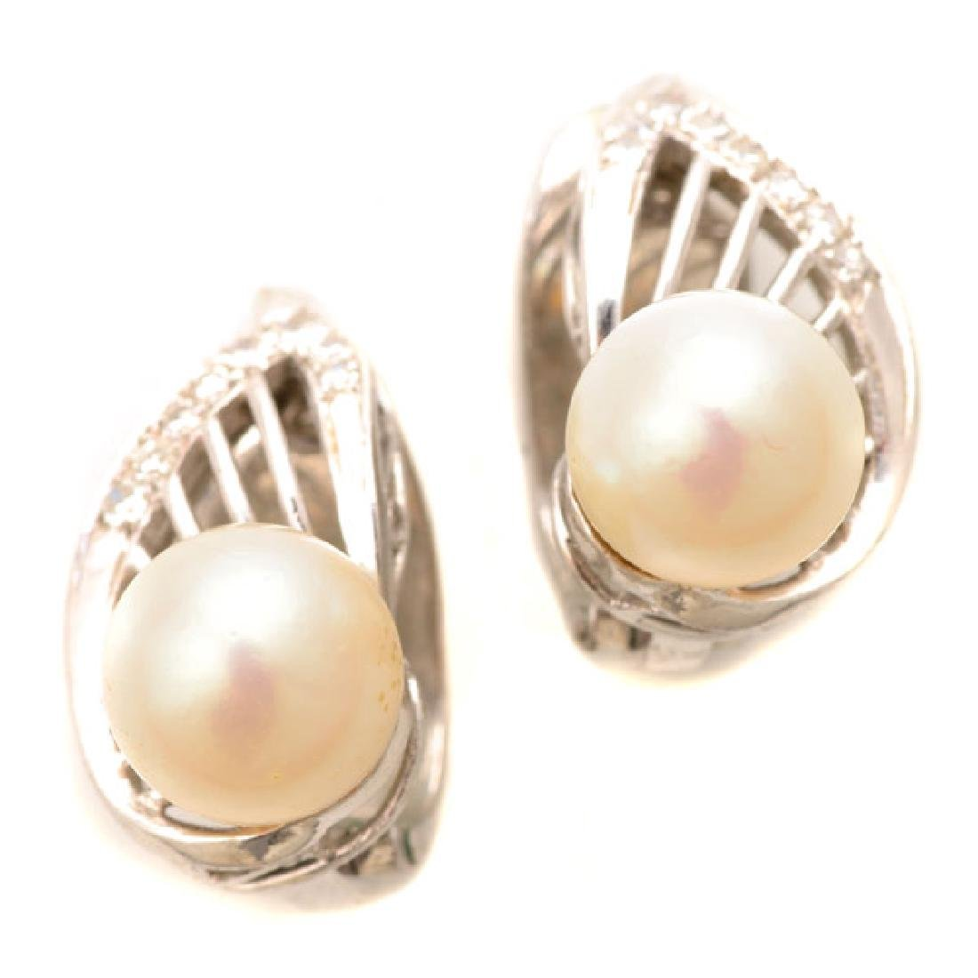 Pair of Cultured Pearl, Diamond, 14k White Gold Ear