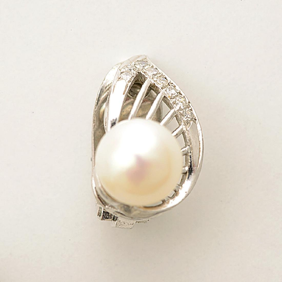 Pair of Cultured Pearl, Diamond, 14k White Gold Ear - 2