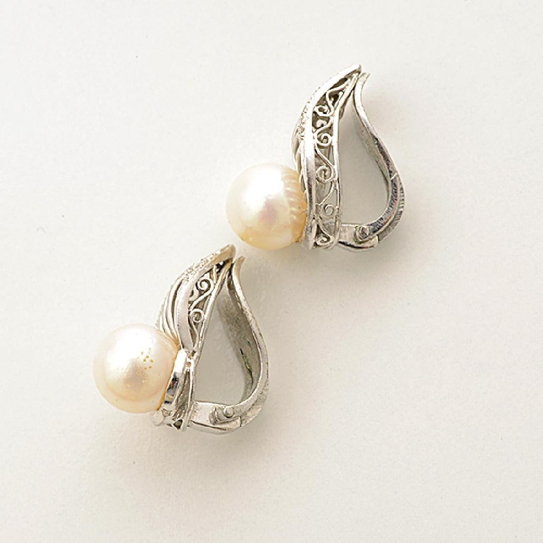 Pair of Cultured Pearl, Diamond, 14k White Gold Ear - 3