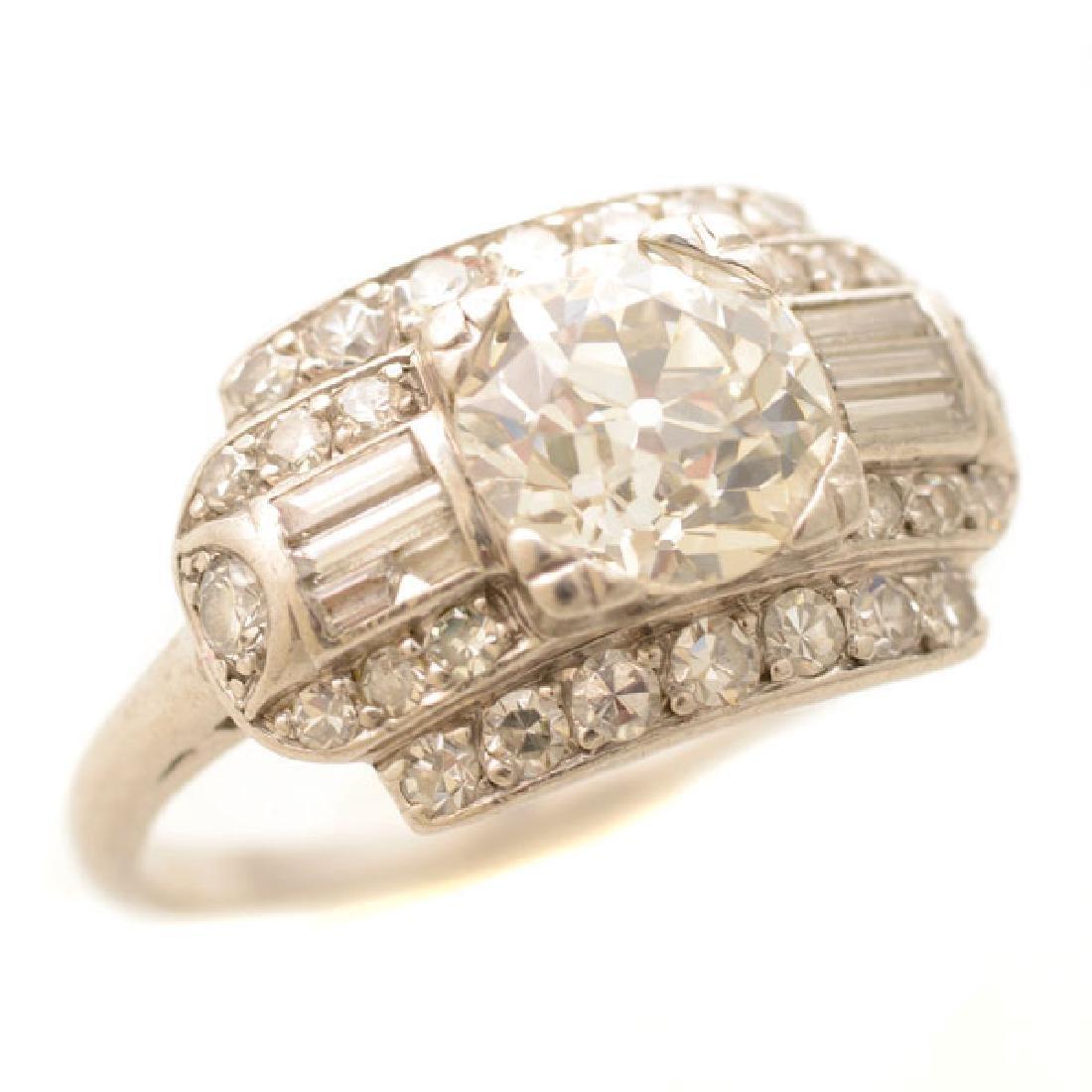 Art Deco Diamond, Platinum Ring.