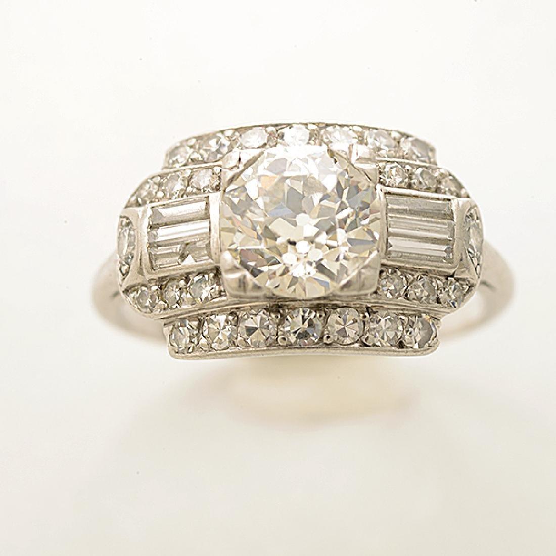 Art Deco Diamond, Platinum Ring. - 2