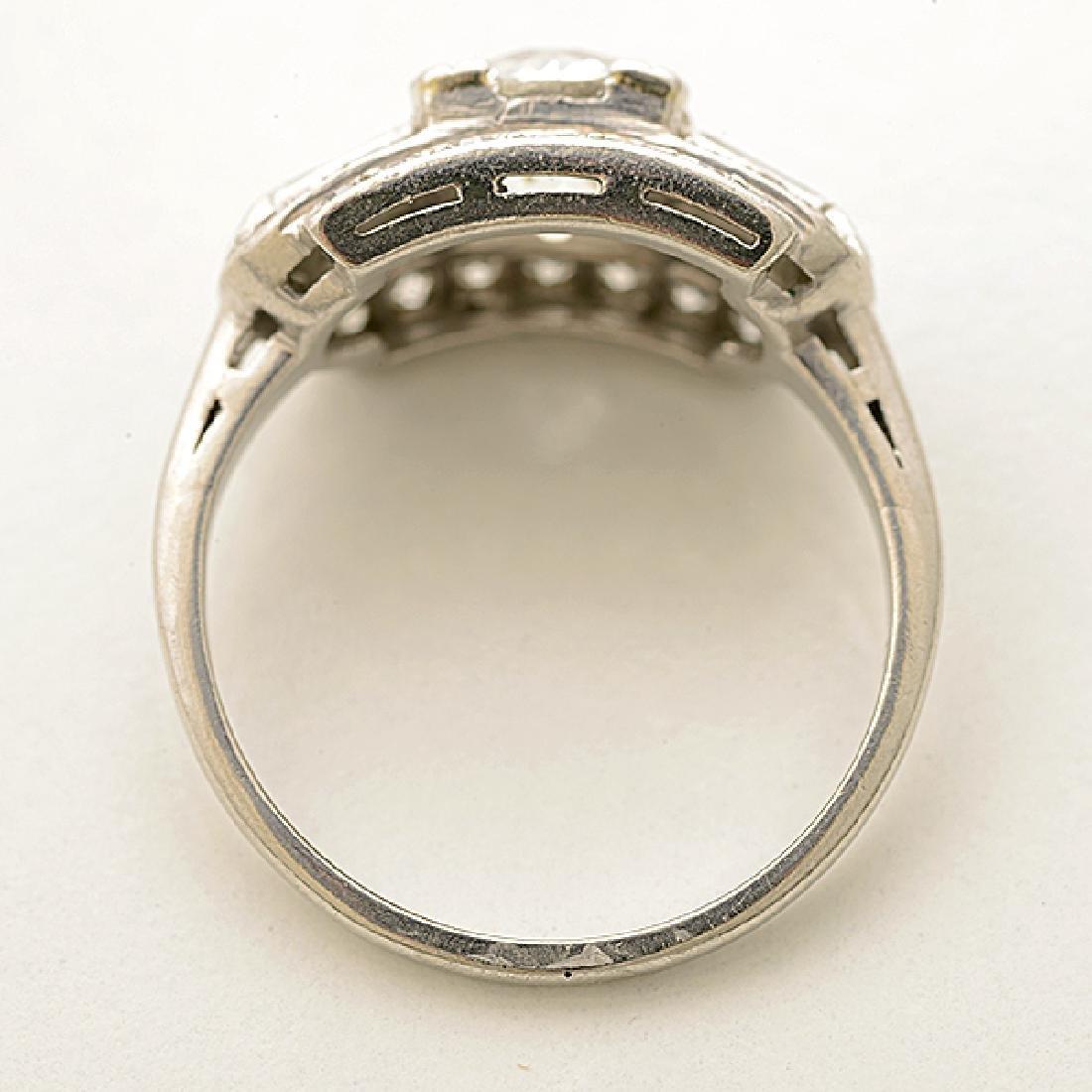 Art Deco Diamond, Platinum Ring. - 3
