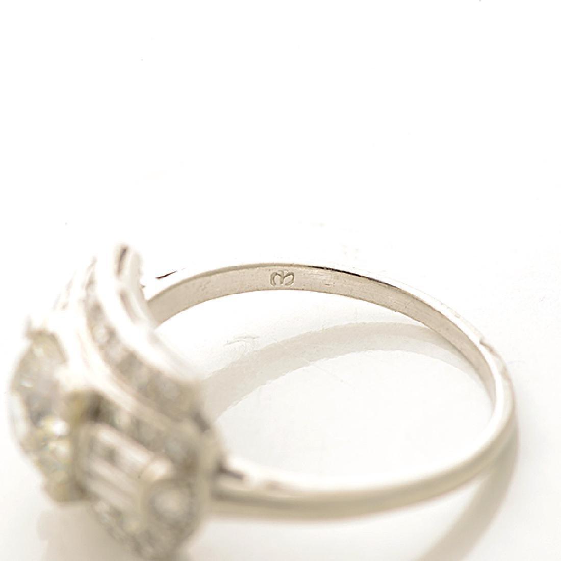 Art Deco Diamond, Platinum Ring. - 4