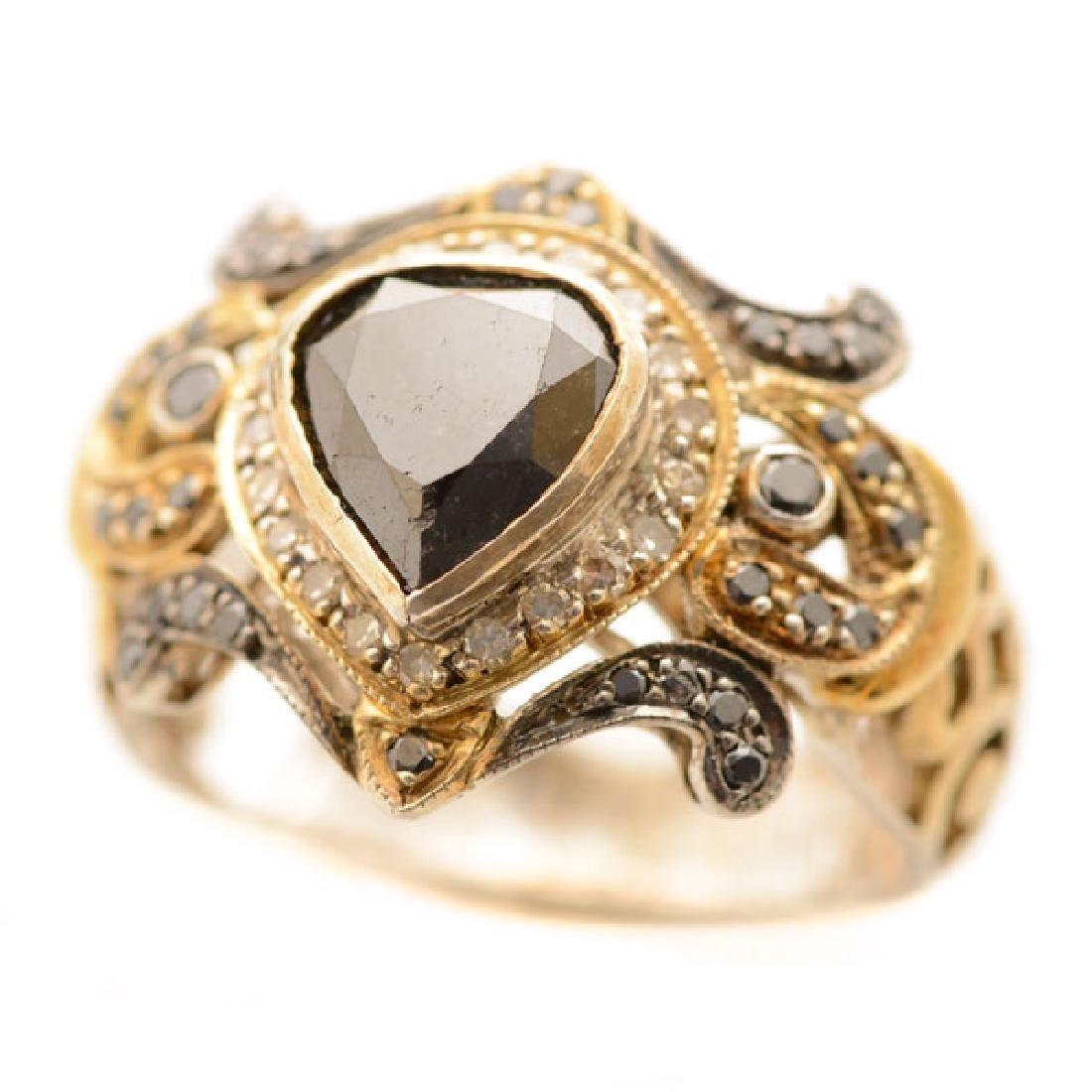 Black Diamond, Diamond, Sterling Silver, Gold Ring.
