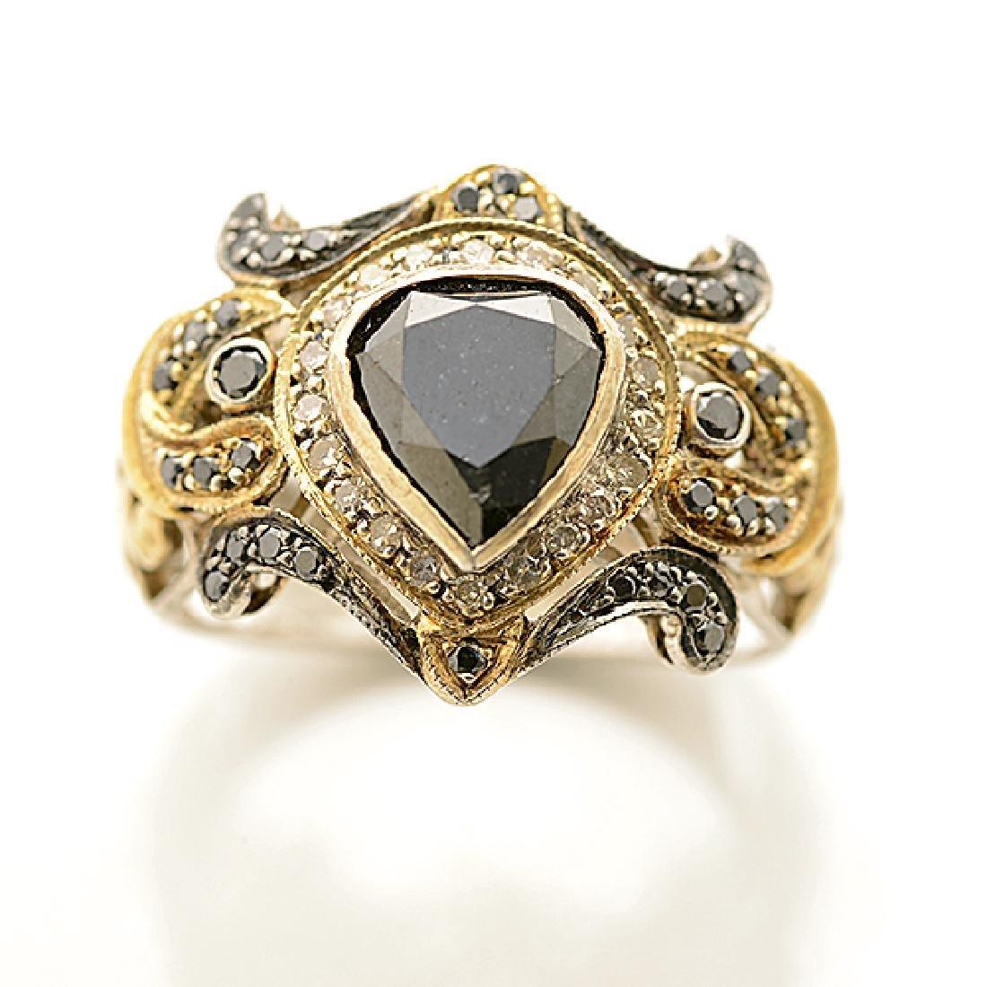 Black Diamond, Diamond, Sterling Silver, Gold Ring. - 2