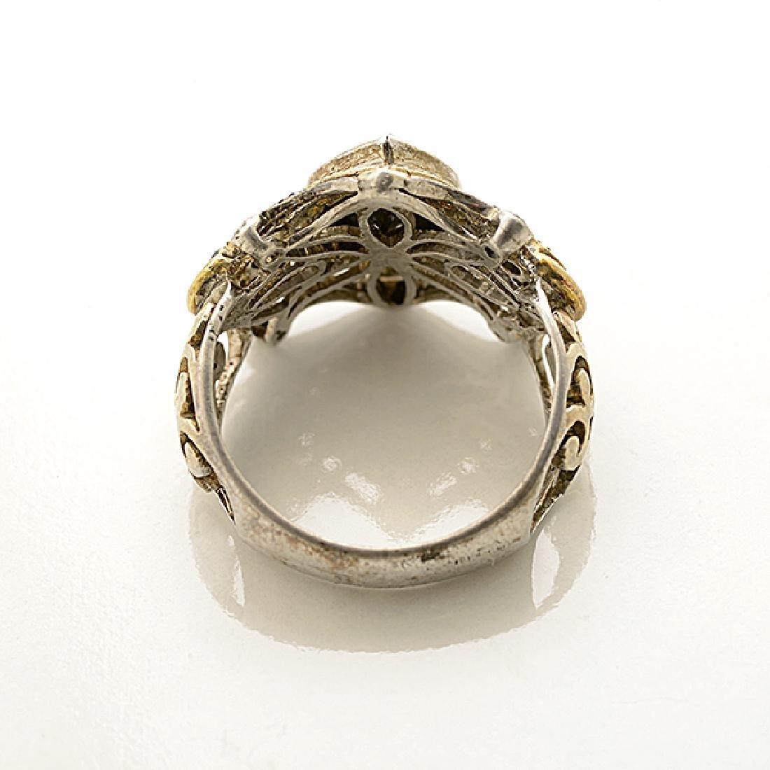 Black Diamond, Diamond, Sterling Silver, Gold Ring. - 3