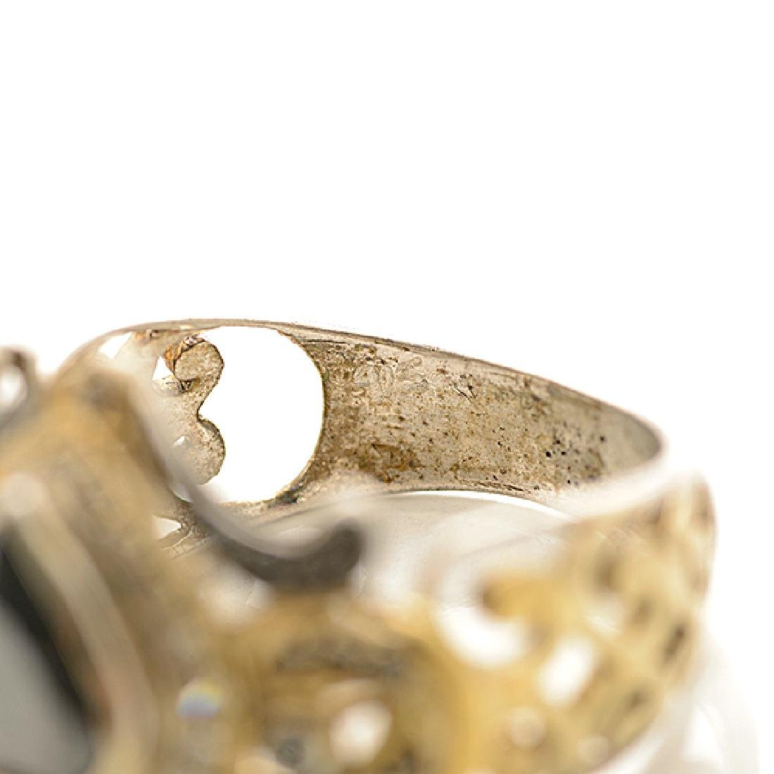 Black Diamond, Diamond, Sterling Silver, Gold Ring. - 4