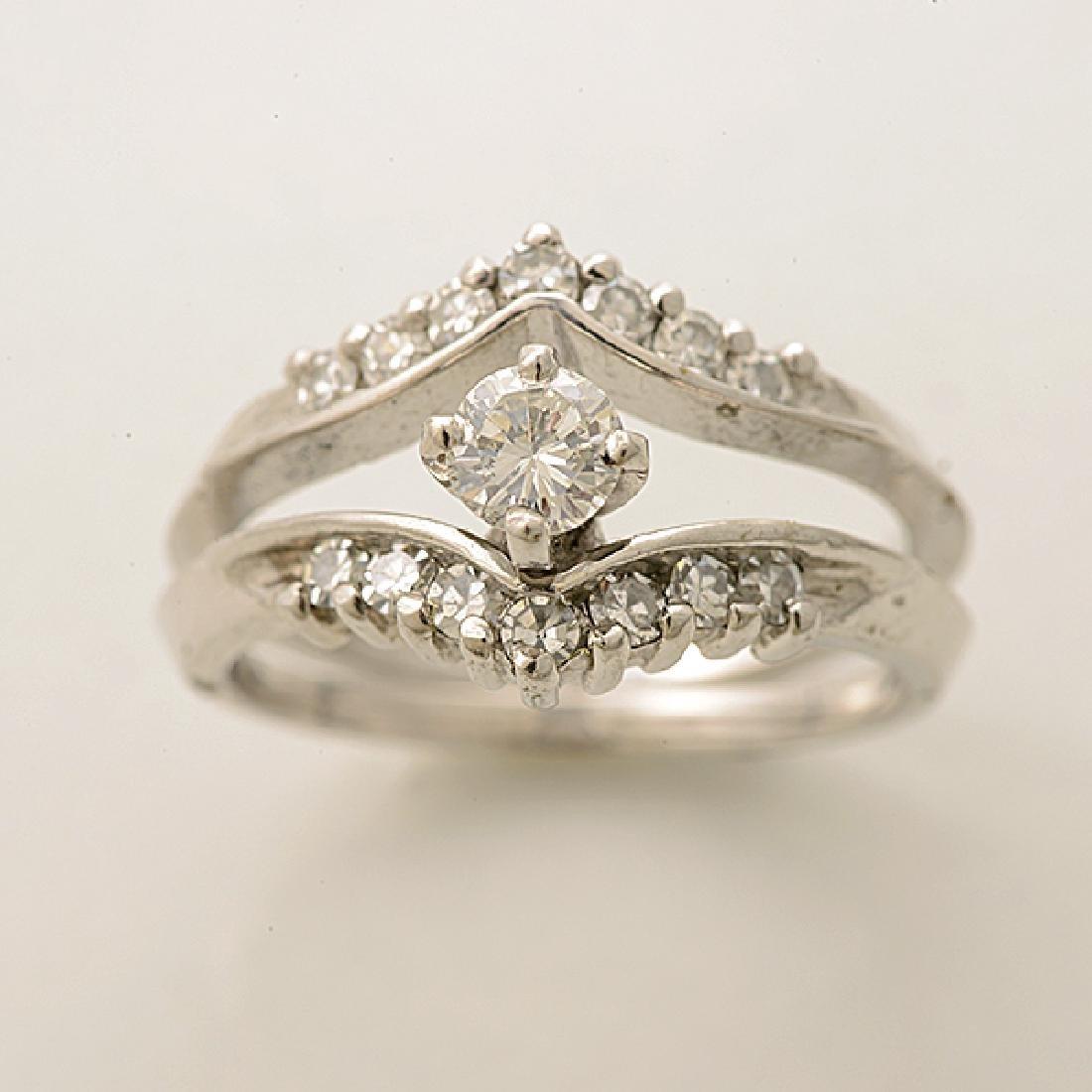 Diamond, 14k White Gold Ring Set. - 2