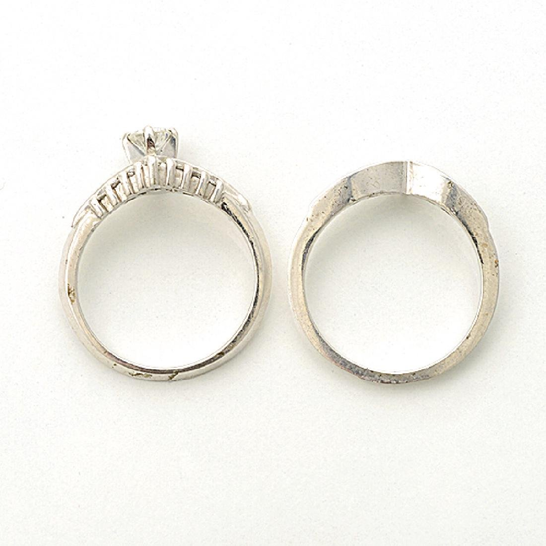 Diamond, 14k White Gold Ring Set. - 3