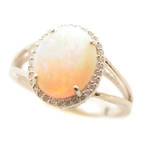 Opal, Diamond, 14k White Gold Ring.
