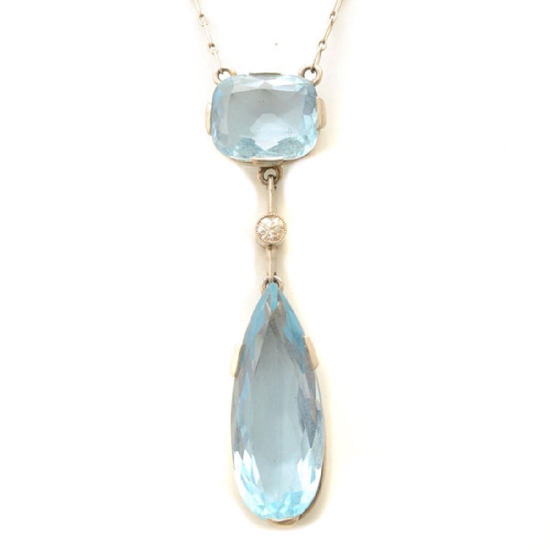 Aquamarine, Diamond, Platinum, Silver Necklace.