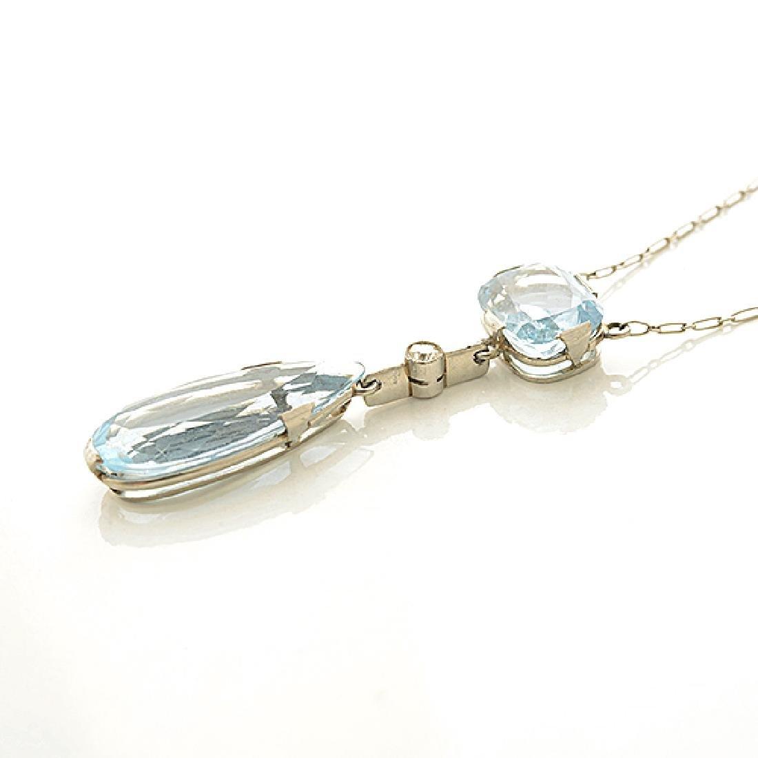 Aquamarine, Diamond, Platinum, Silver Necklace. - 2