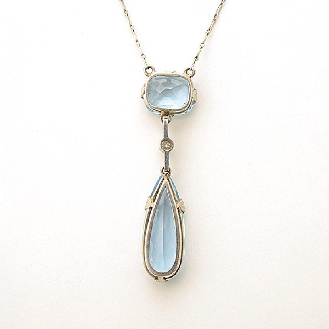 Aquamarine, Diamond, Platinum, Silver Necklace. - 3