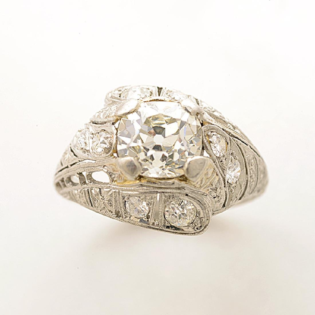 Art Deco Diamond, Platinum Ring. - 2