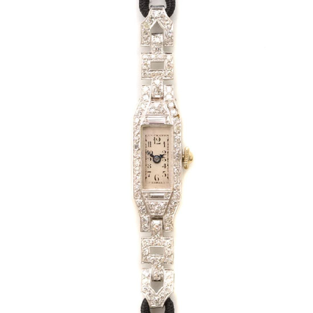 Ladies Art Deco Diamond, Platinum, Nylon Wristwatch.