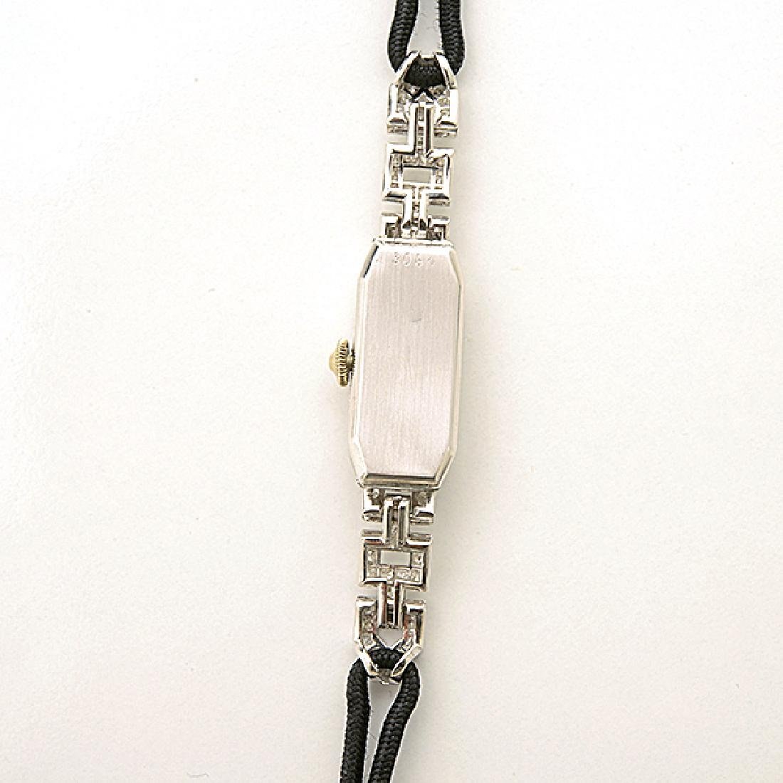 Ladies Art Deco Diamond, Platinum, Nylon Wristwatch. - 3