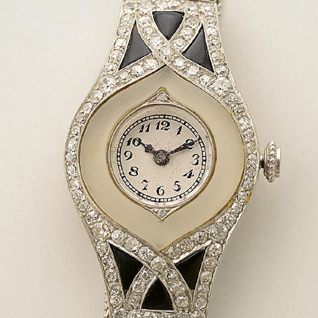 Ladies Art Deco Diamond, Black Onyx, Rock Crystal - 2