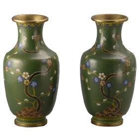 A Pair of CloisonnÈ Enameled Vases