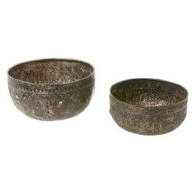 Two Thai Hammered Silver Rice Bowls, Early 20th Century
