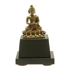 A Miniature Bronze Figure of Buddha, 18th Century