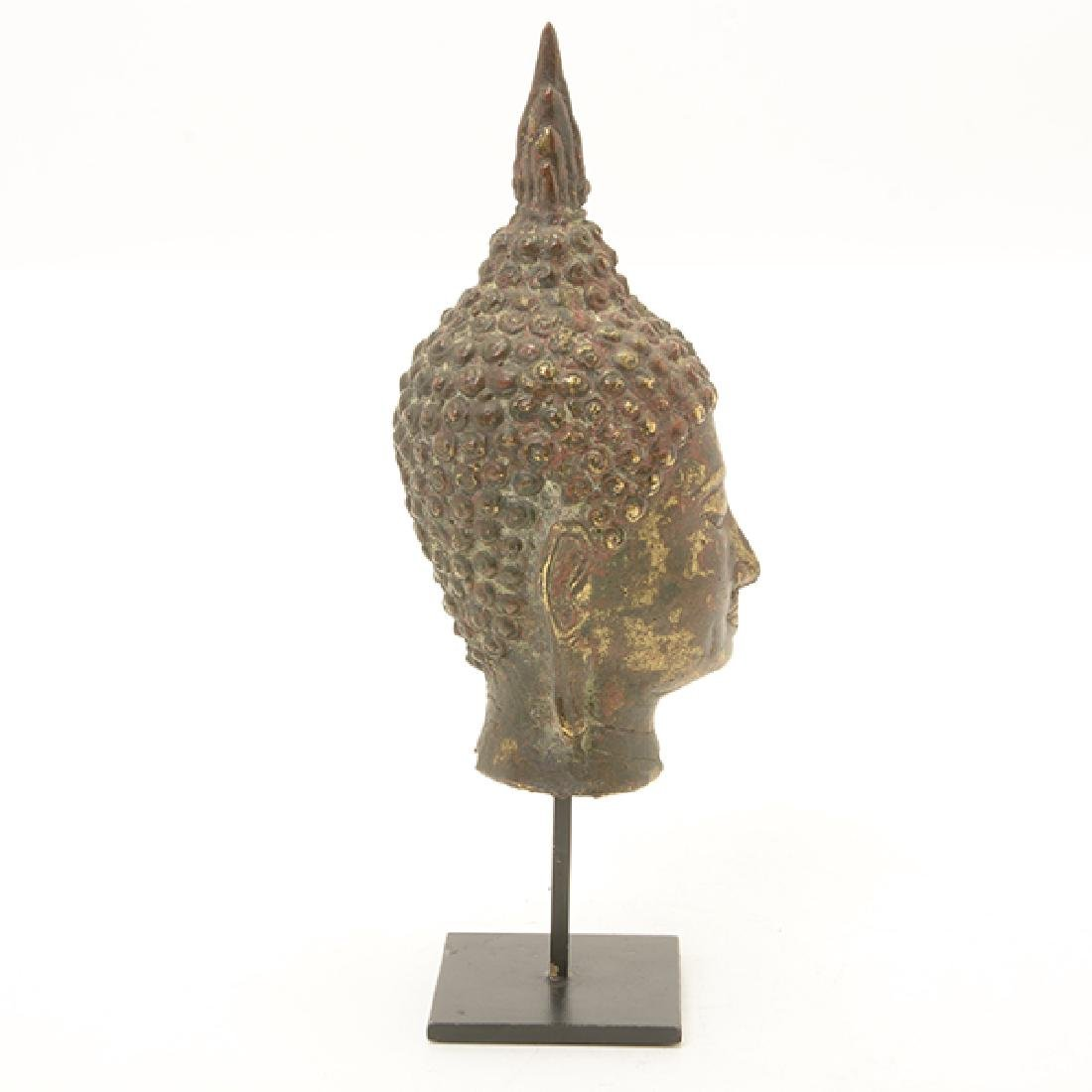 A Thai Sukhothai Style Gilt Bronze Head of Buddha, 19th - 4