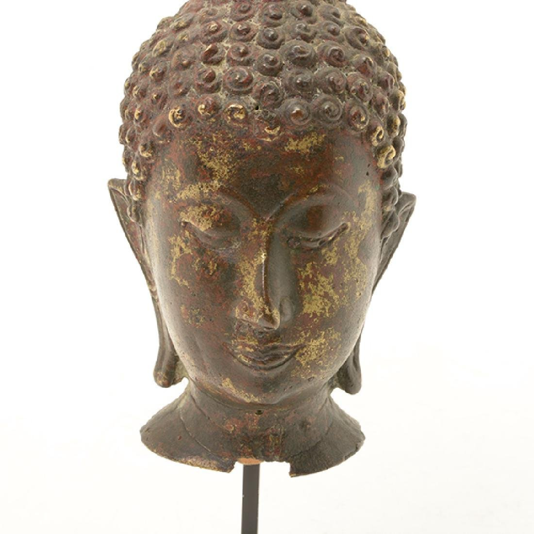 A Thai Sukhothai Style Gilt Bronze Head of Buddha, 19th - 5