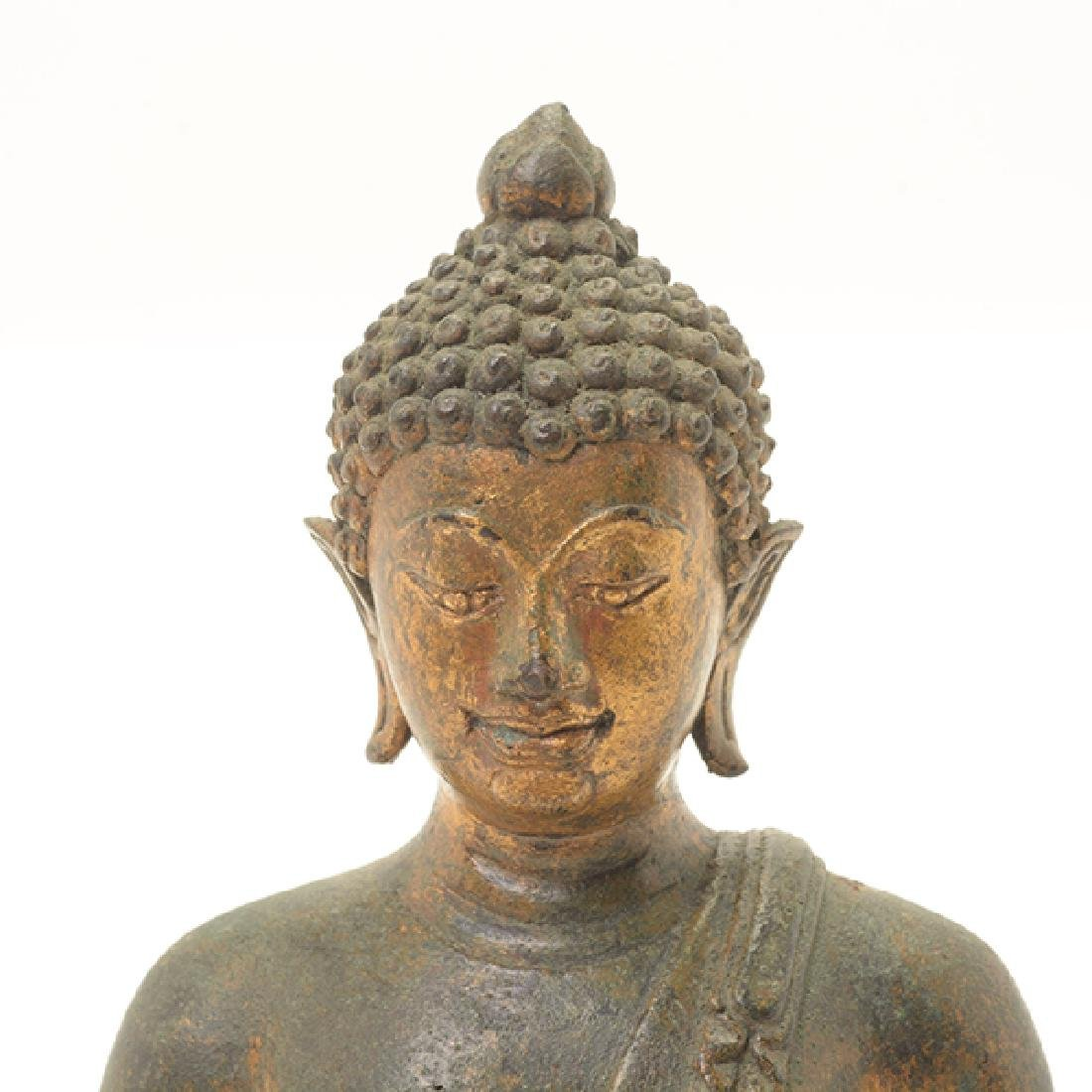 A Northern Thai Style Gilt Bronze Figure of Buddha - 5