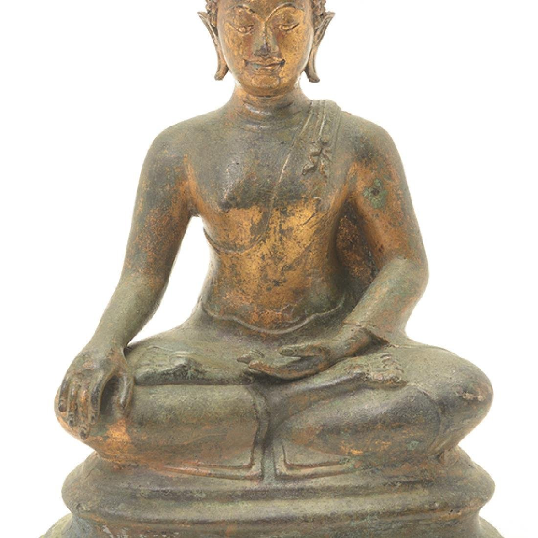 A Northern Thai Style Gilt Bronze Figure of Buddha - 6