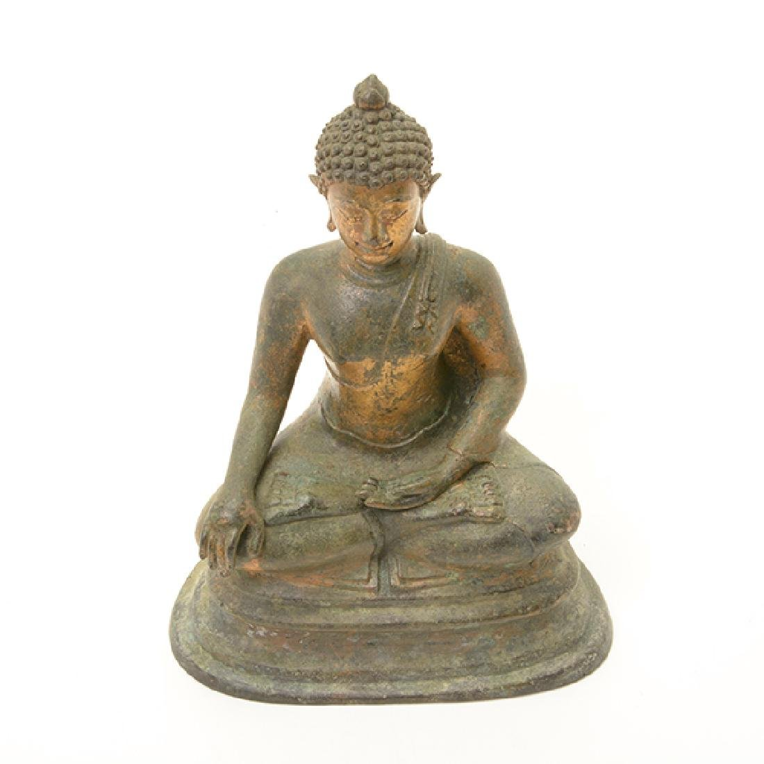 A Northern Thai Style Gilt Bronze Figure of Buddha - 7