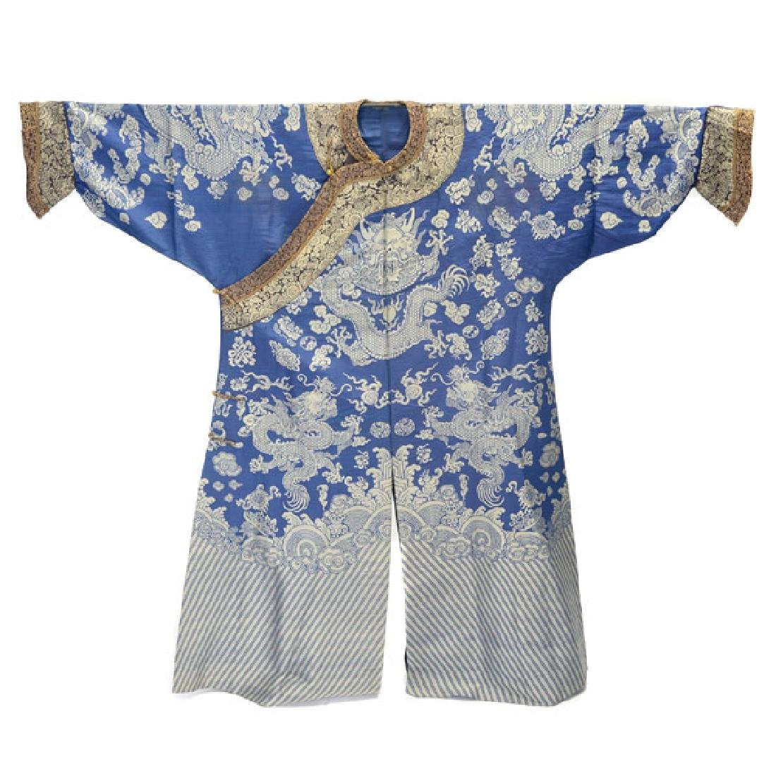 A Brocade Woven Blue Ground 'Dragon' Robe, Late 19th