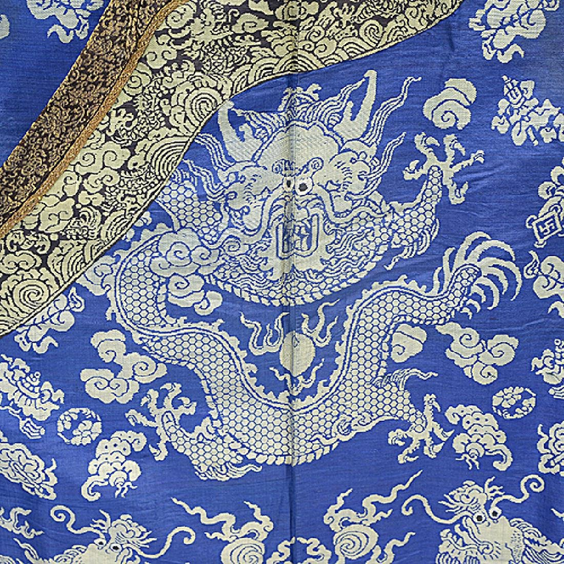 A Brocade Woven Blue Ground 'Dragon' Robe, Late 19th - 3