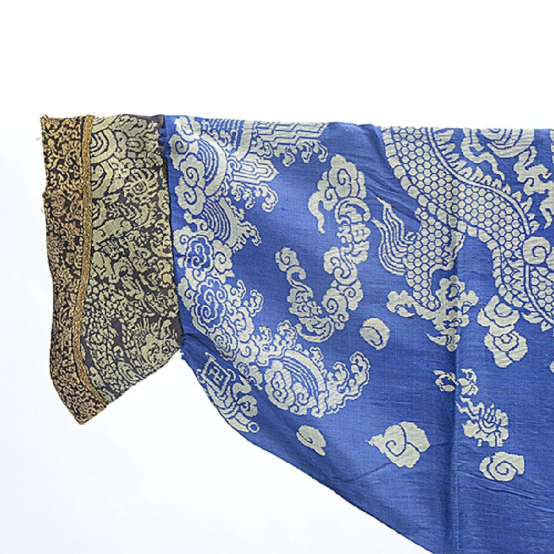 A Brocade Woven Blue Ground 'Dragon' Robe, Late 19th - 4