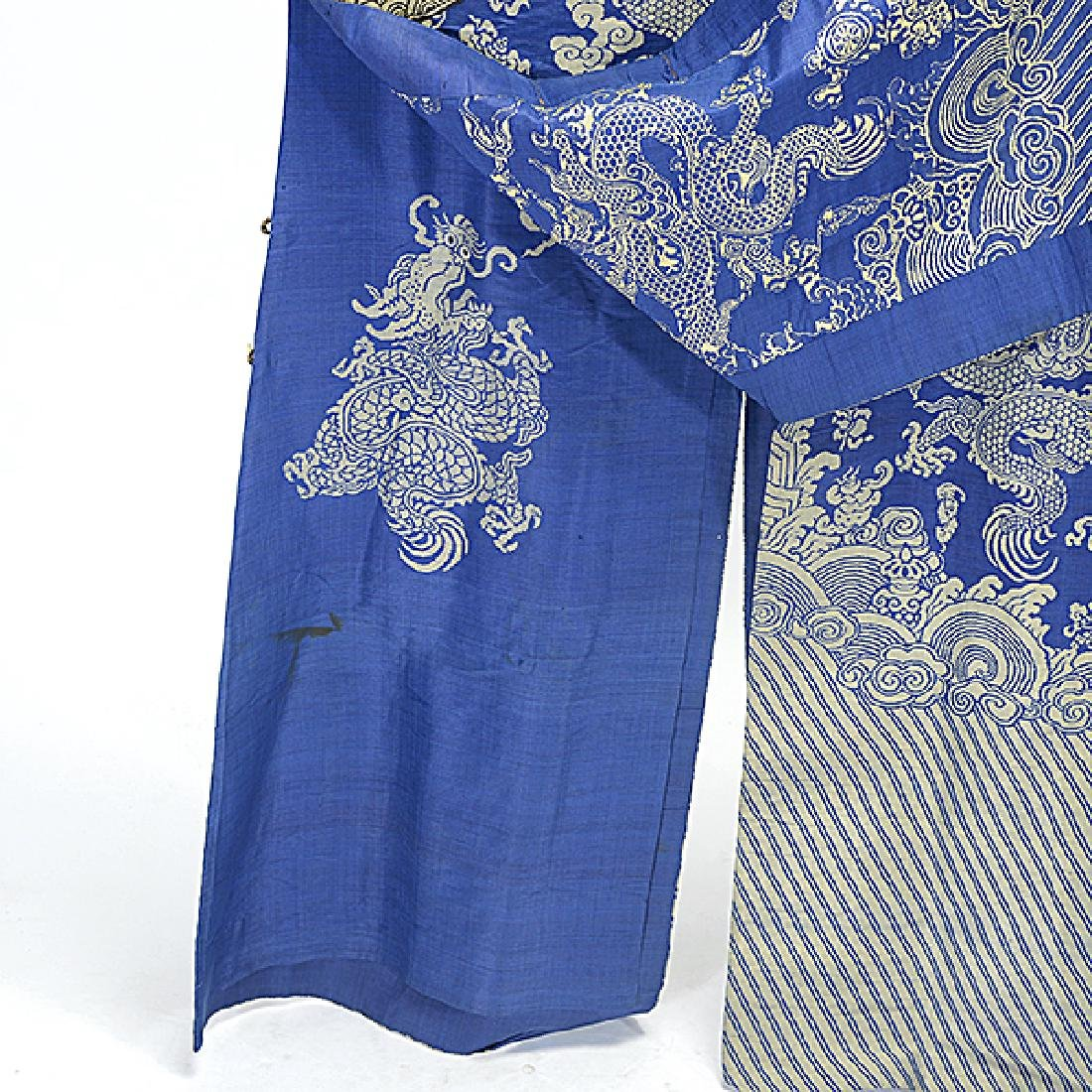 A Brocade Woven Blue Ground 'Dragon' Robe, Late 19th - 5