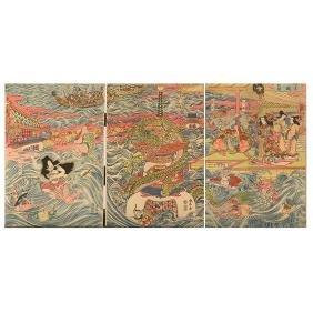 Katsukawa Shuntei (1770-1820): Woodblock Print Triptych