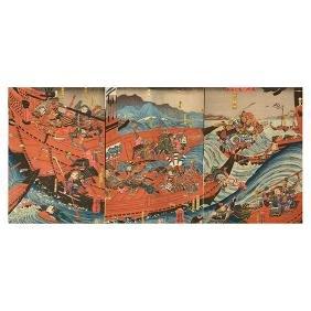Utagawa Kuniyoshi (1797-1861): Woodblock Print Triptych