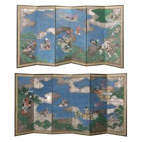 A Pair of Japanese Six-Panel Folding Screens