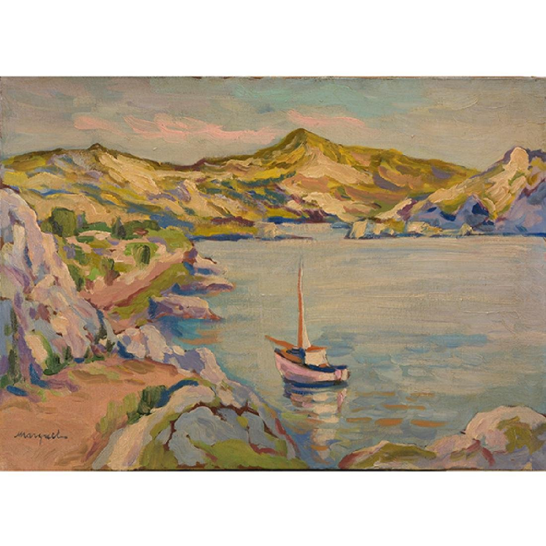 """Attributed to Albert Marquet """"Ship in Harbor"""" oil on"""