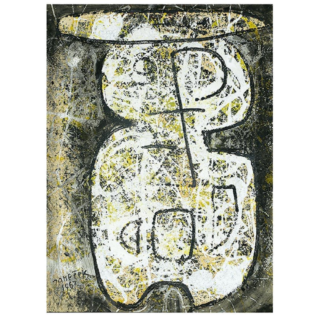 "Ota Janecek ""Abstract Figure"" mixed media on paper"