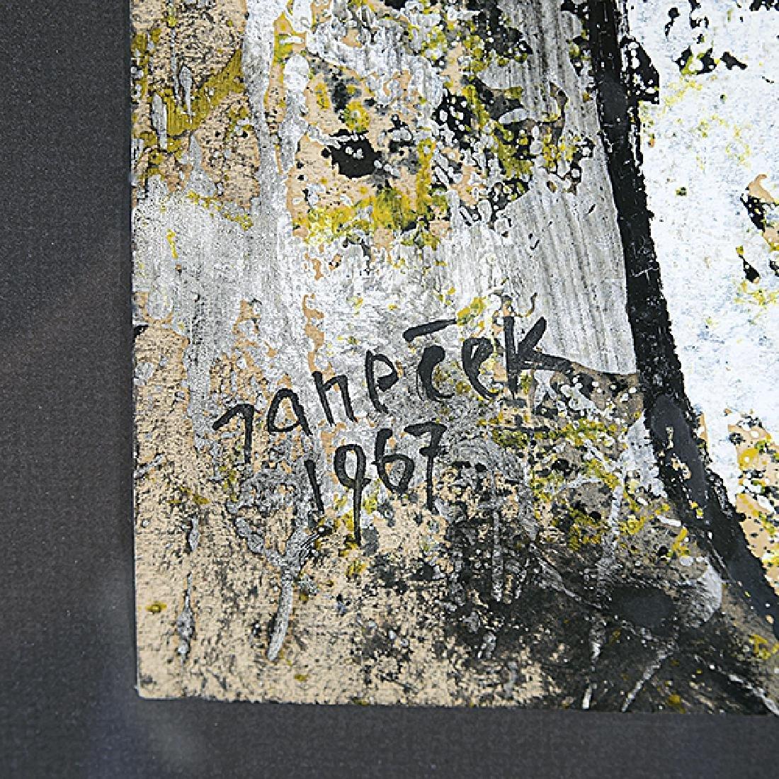 "Ota Janecek ""Abstract Figure"" mixed media on paper - 2"
