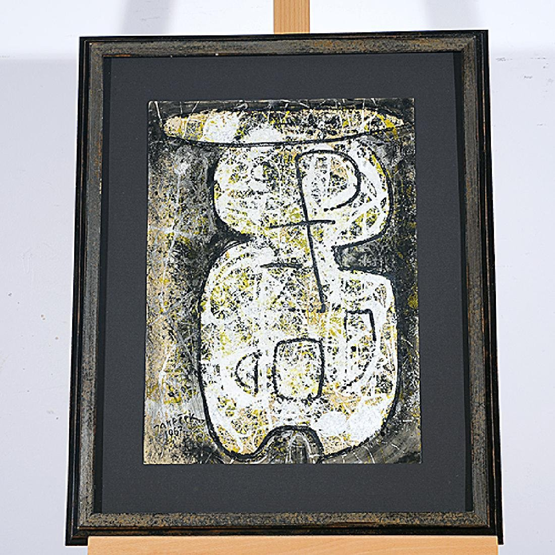 "Ota Janecek ""Abstract Figure"" mixed media on paper - 4"